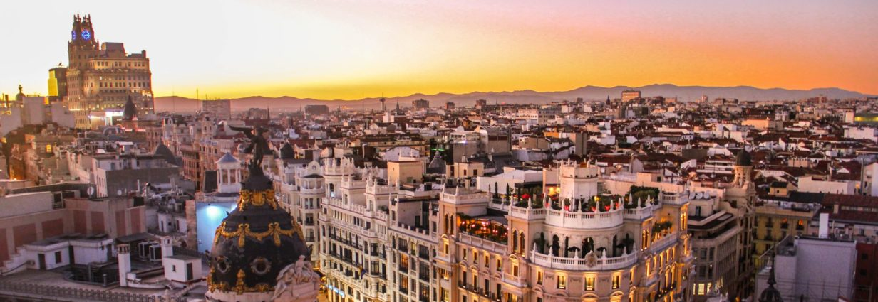 Sunset view of Gran Via in Madrid